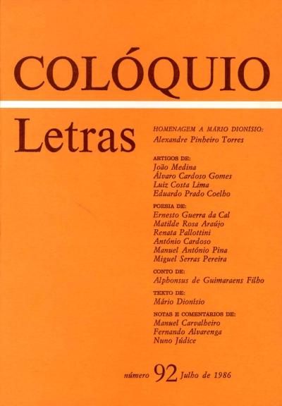 Colóquio/Letras n.º 92